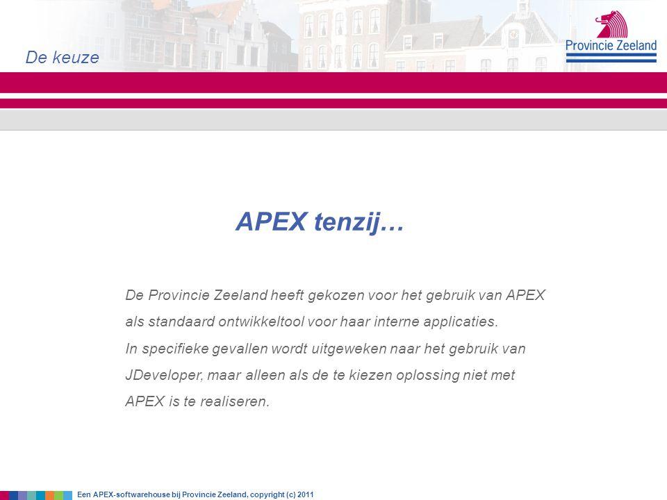 De keuze APEX tenzij… De Provincie Zeeland heeft gekozen voor het gebruik van APEX als standaard ontwikkeltool voor haar interne applicaties.
