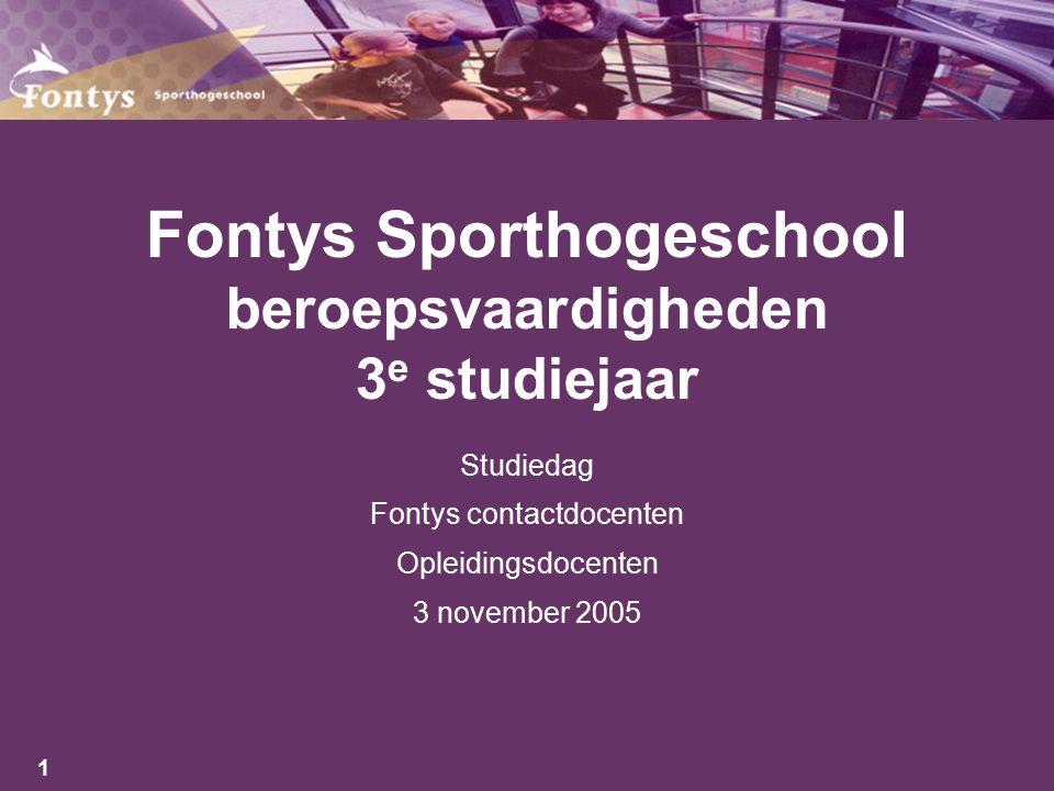 Fontys Sporthogeschool beroepsvaardigheden 3e studiejaar