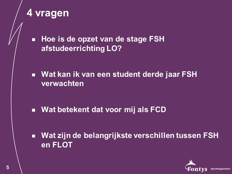4 vragen Hoe is de opzet van de stage FSH afstudeerrichting LO