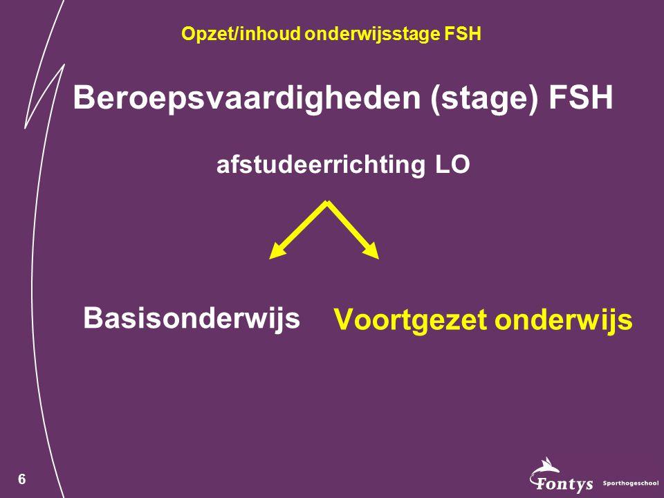 Beroepsvaardigheden (stage) FSH afstudeerrichting LO