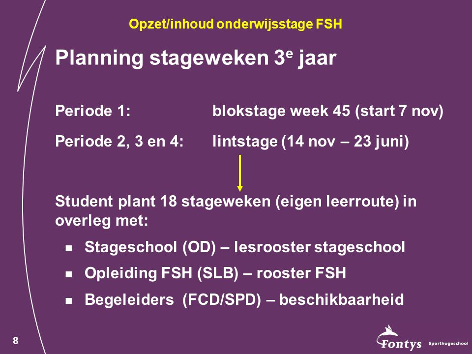 Planning stageweken 3e jaar