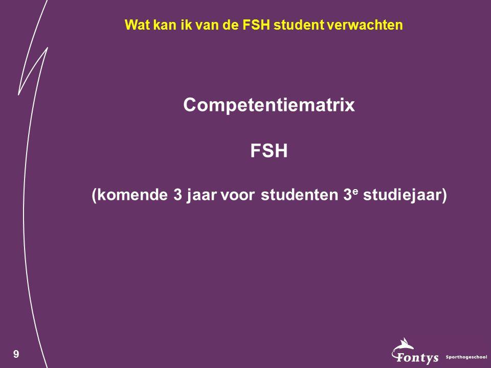 Competentiematrix FSH (komende 3 jaar voor studenten 3e studiejaar)