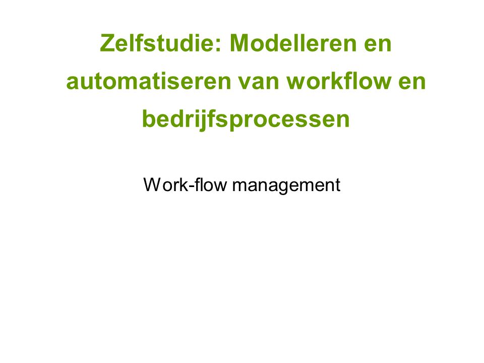 Work-flow management