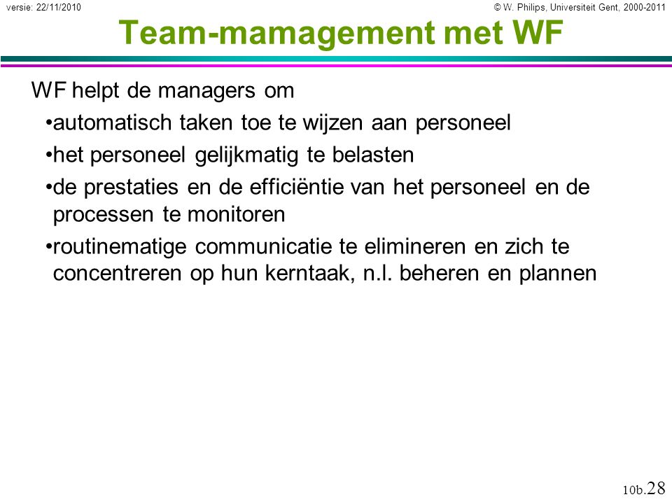 Team-mamagement met WF