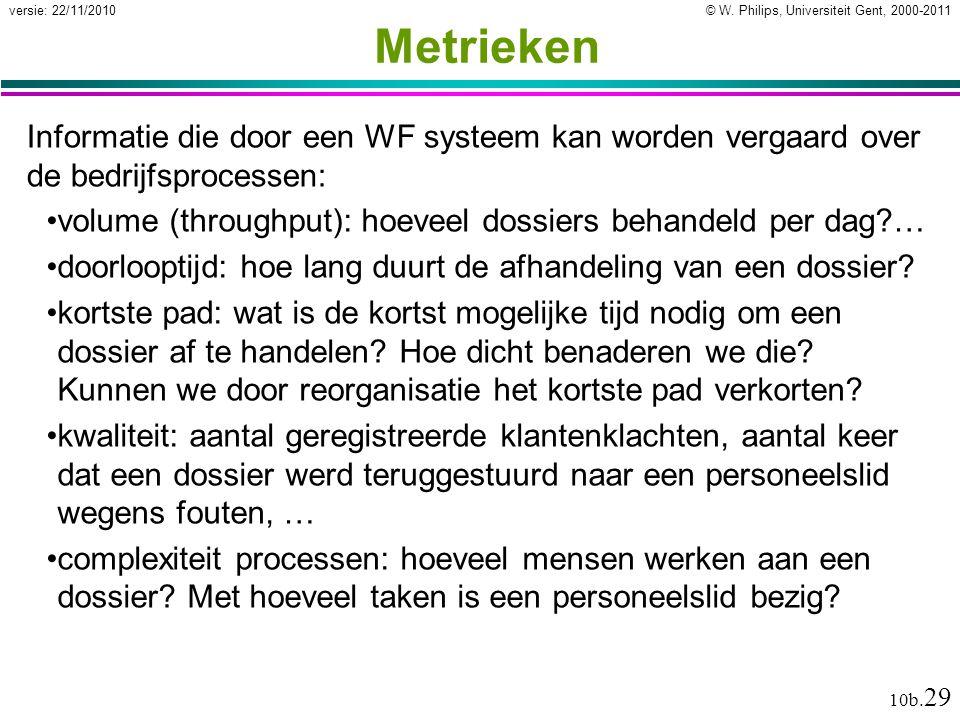Metrieken Informatie die door een WF systeem kan worden vergaard over de bedrijfsprocessen: