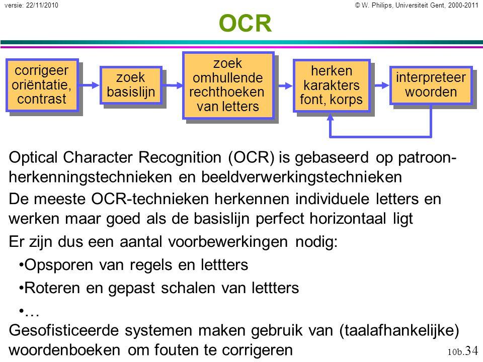 OCR zoek omhullende rechthoeken van letters. corrigeer oriëntatie, contrast. herken karakters font, korps.