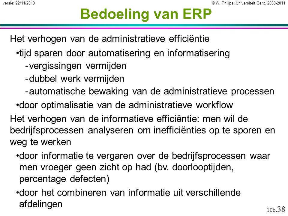 Bedoeling van ERP Het verhogen van de administratieve efficiëntie