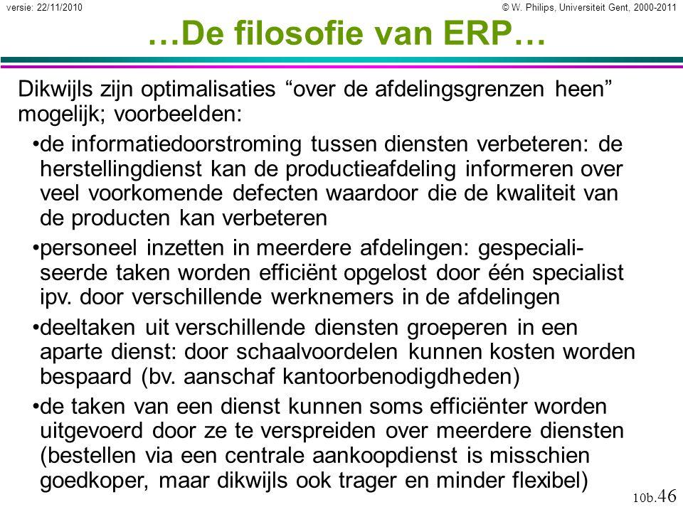 …De filosofie van ERP… Dikwijls zijn optimalisaties over de afdelingsgrenzen heen mogelijk; voorbeelden: