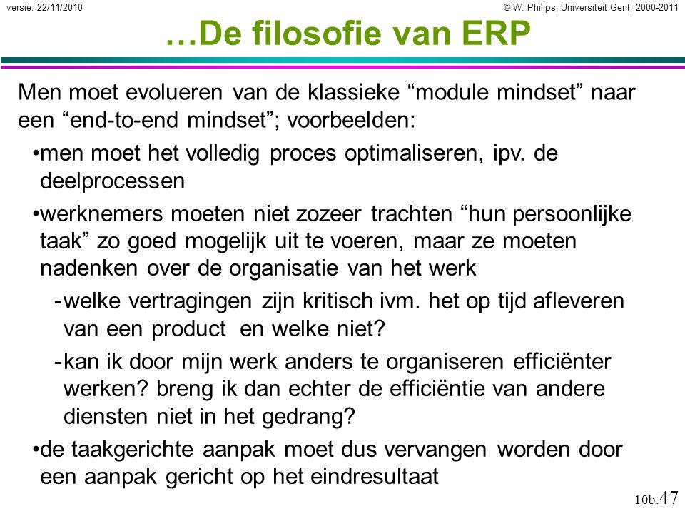 …De filosofie van ERP Men moet evolueren van de klassieke module mindset naar een end-to-end mindset ; voorbeelden:
