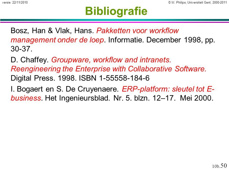 Bibliografie Bosz, Han & Vlak, Hans. Pakketten voor workflow management onder de loep. Informatie. December 1998, pp. 30-37.
