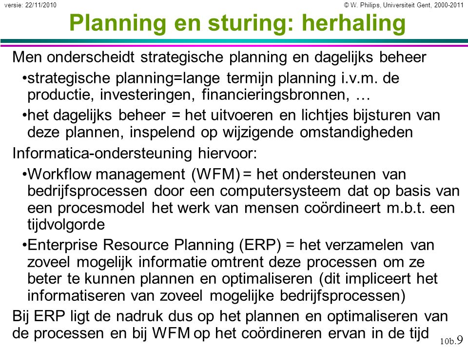 Planning en sturing: herhaling
