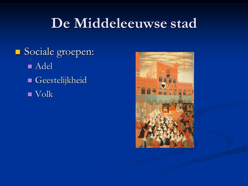 De Middeleeuwse stad Sociale groepen: Adel Geestelijkheid Volk