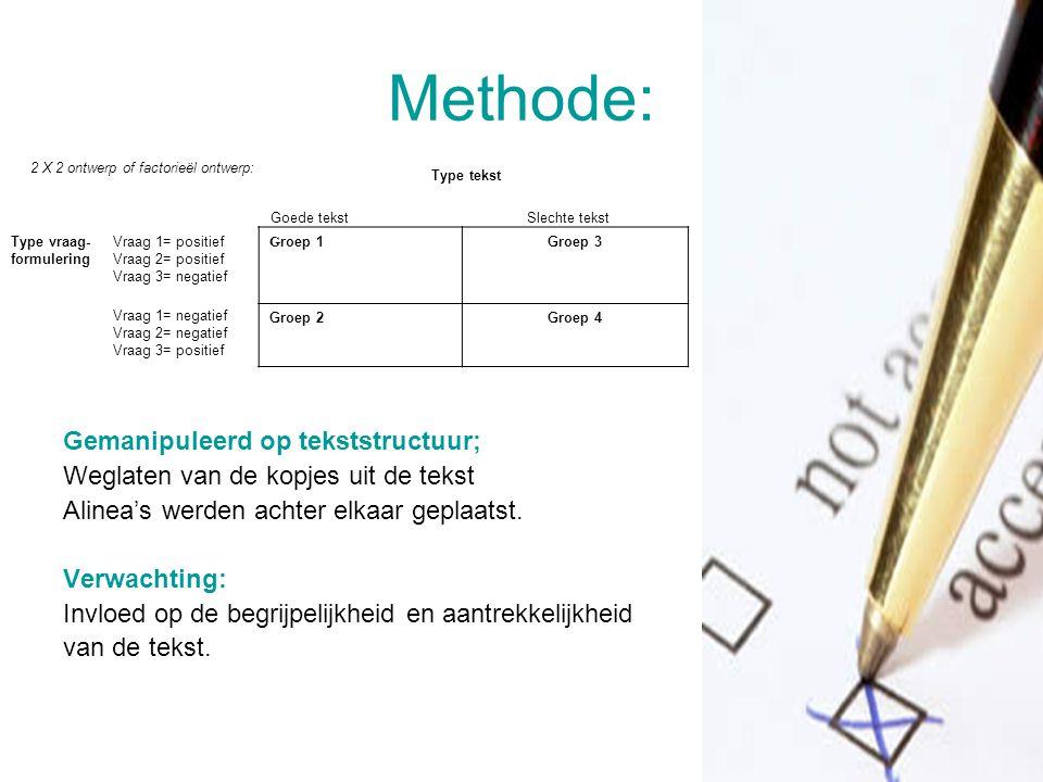 Methode: Gemanipuleerd op tekststructuur;