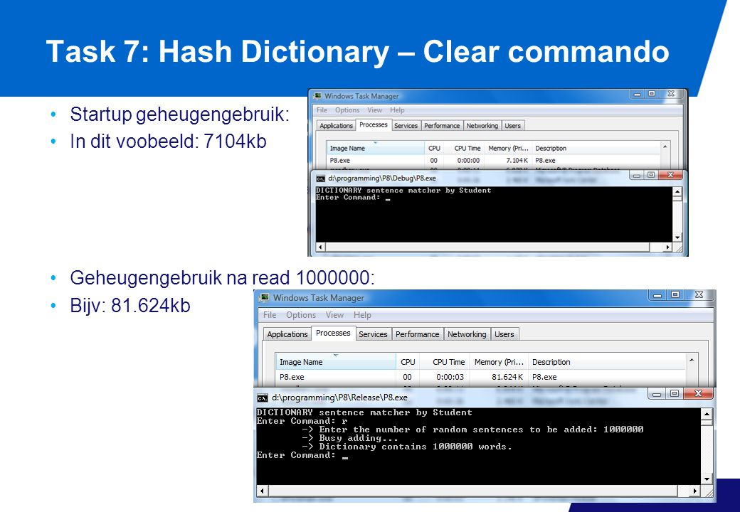 Task 7: Hash Dictionary – Clear commando