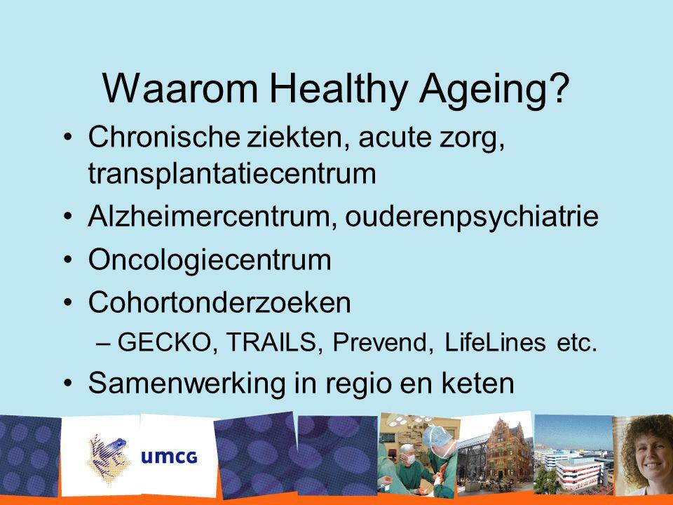 Waarom Healthy Ageing Chronische ziekten, acute zorg, transplantatiecentrum. Alzheimercentrum, ouderenpsychiatrie.