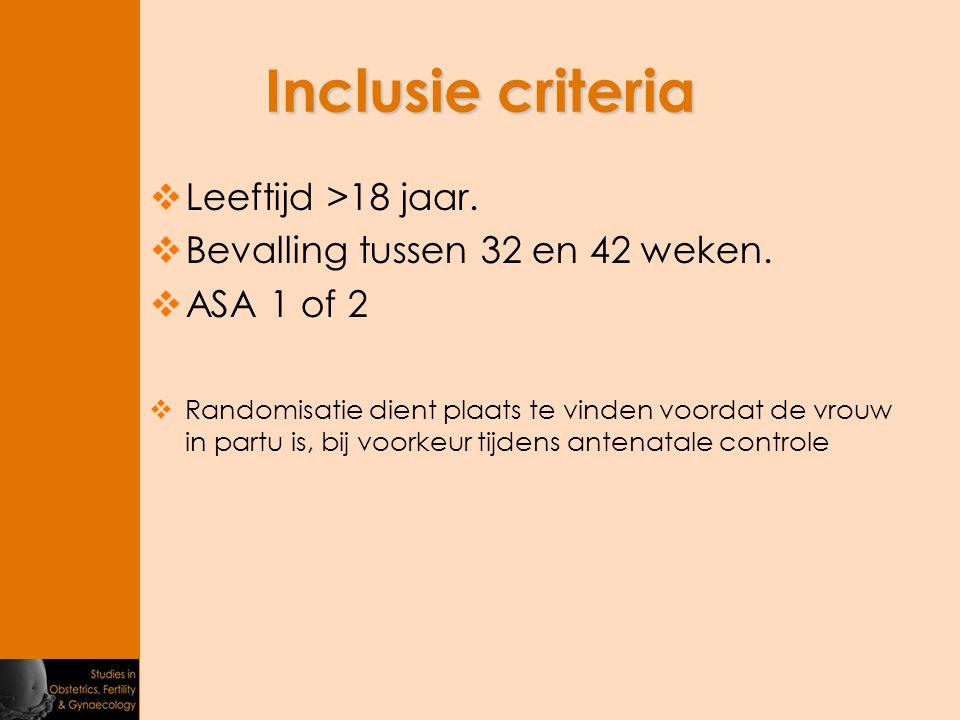 Inclusie criteria Leeftijd >18 jaar.