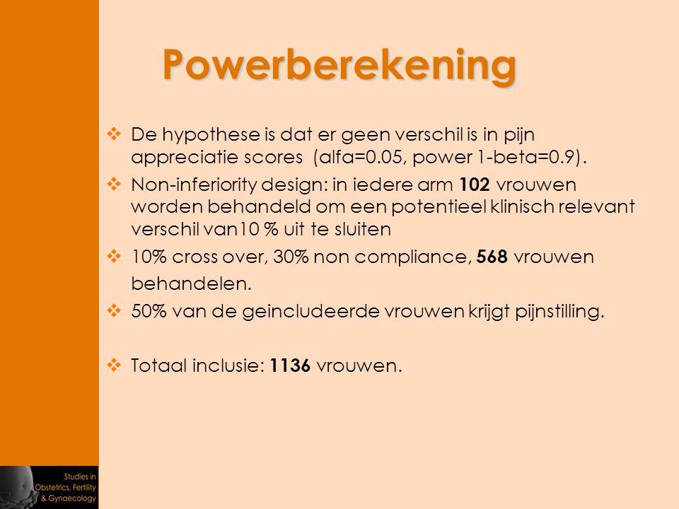 Powerberekening De hypothese is dat er geen verschil is in pijn appreciatie scores (alfa=0.05, power 1-beta=0.9).