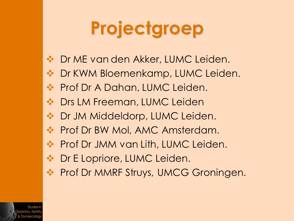 Projectgroep Dr ME van den Akker, LUMC Leiden.