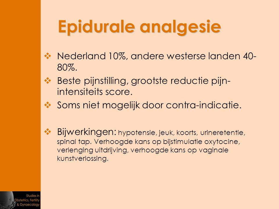 Epidurale analgesie Nederland 10%, andere westerse landen 40-80%.