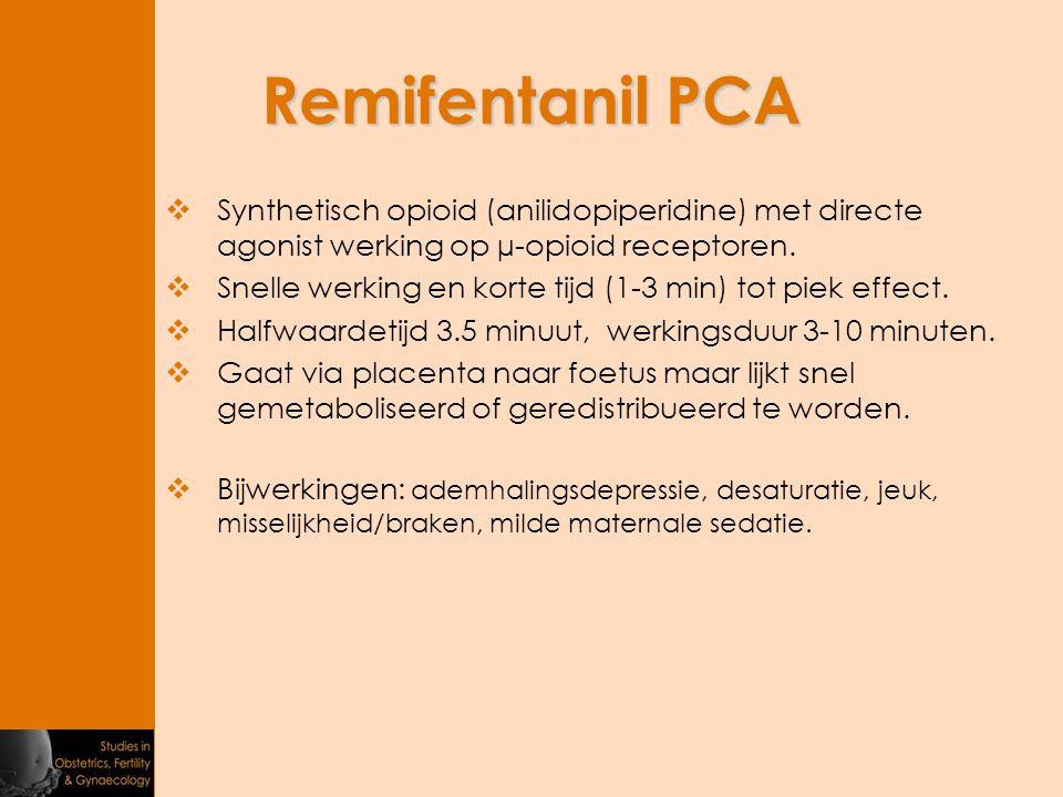 Remifentanil PCA Synthetisch opioid (anilidopiperidine) met directe agonist werking op µ-opioid receptoren.