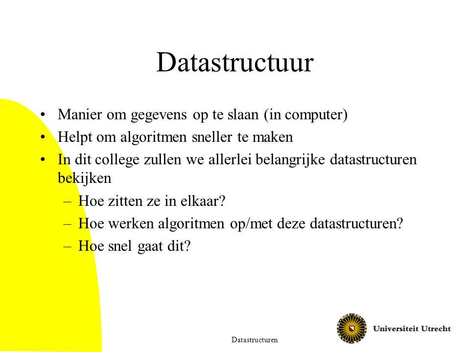 Datastructuur Manier om gegevens op te slaan (in computer)