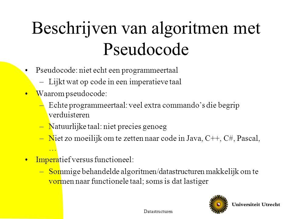 Beschrijven van algoritmen met Pseudocode