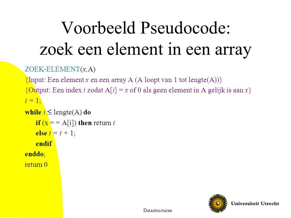 Voorbeeld Pseudocode: zoek een element in een array