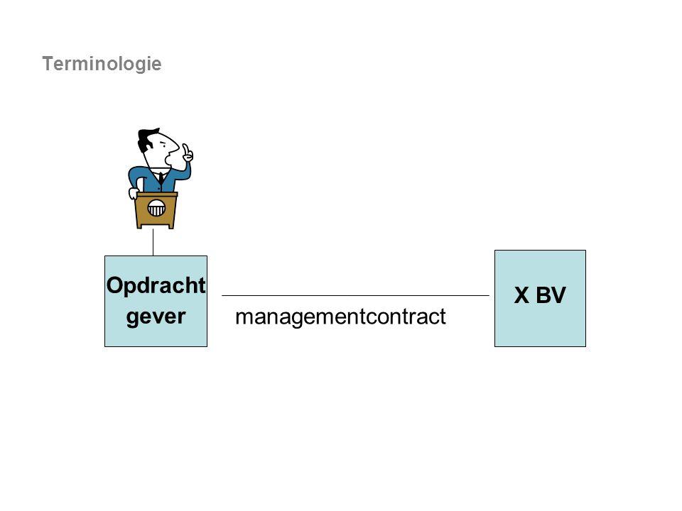 Terminologie X BV Opdracht gever managementcontract