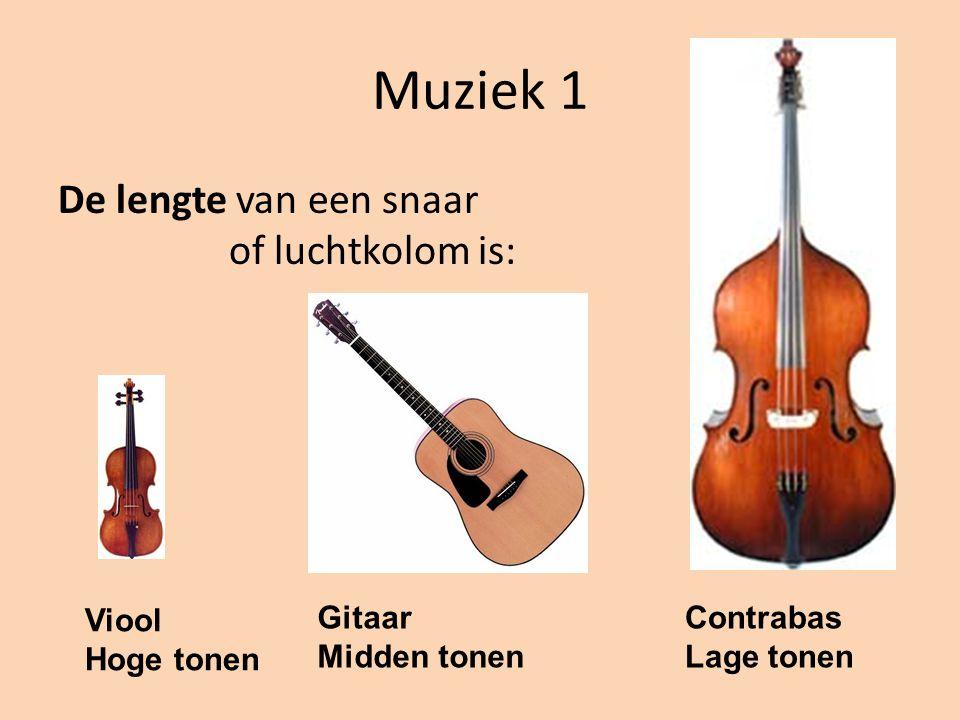 Muziek 1 De lengte van een snaar of luchtkolom is: Viool Hoge tonen