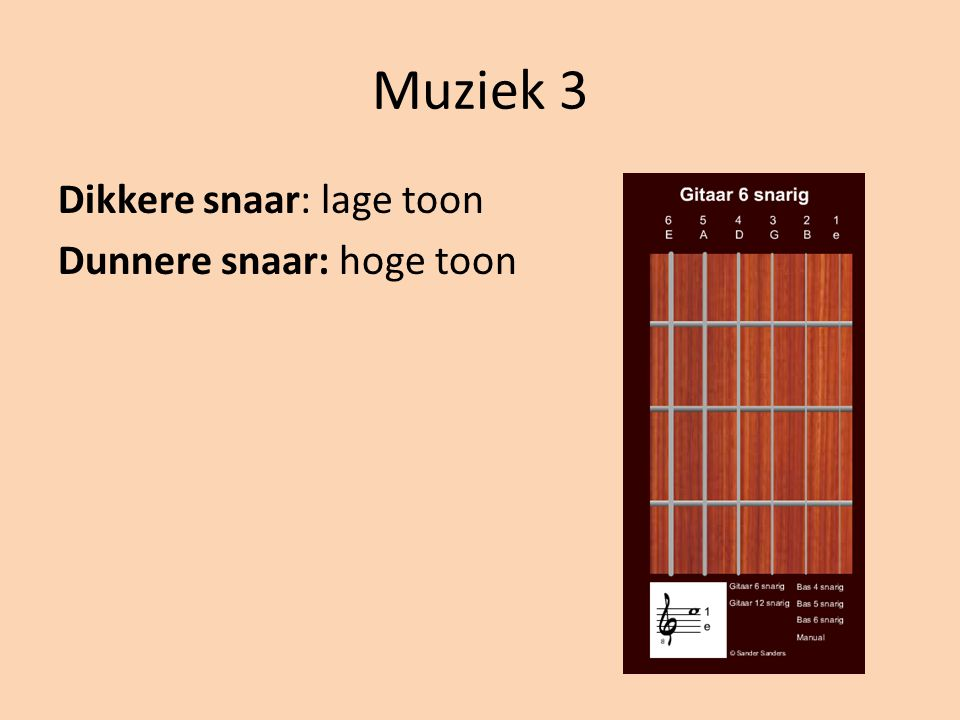 Muziek 3 Dikkere snaar: lage toon Dunnere snaar: hoge toon