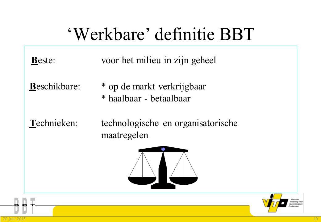 'Werkbare' definitie BBT