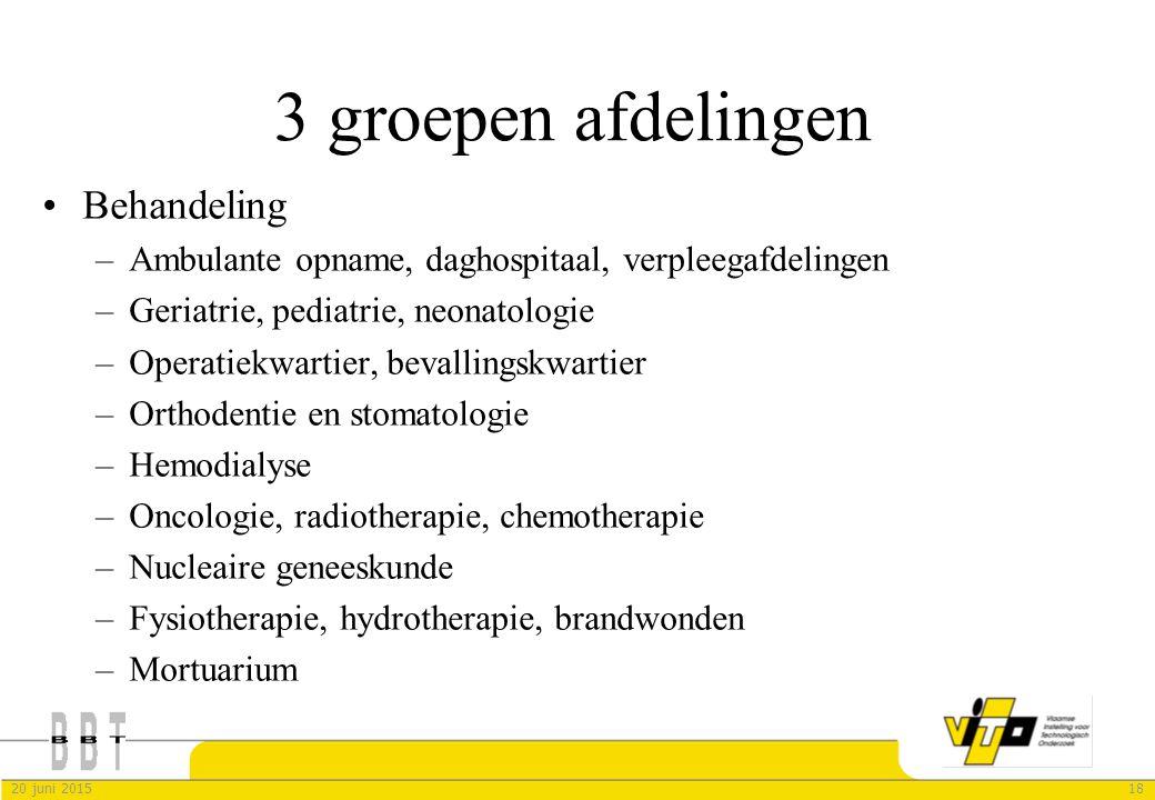 3 groepen afdelingen Behandeling