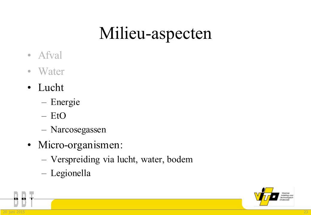Milieu-aspecten Afval Water Lucht Micro-organismen: Energie EtO