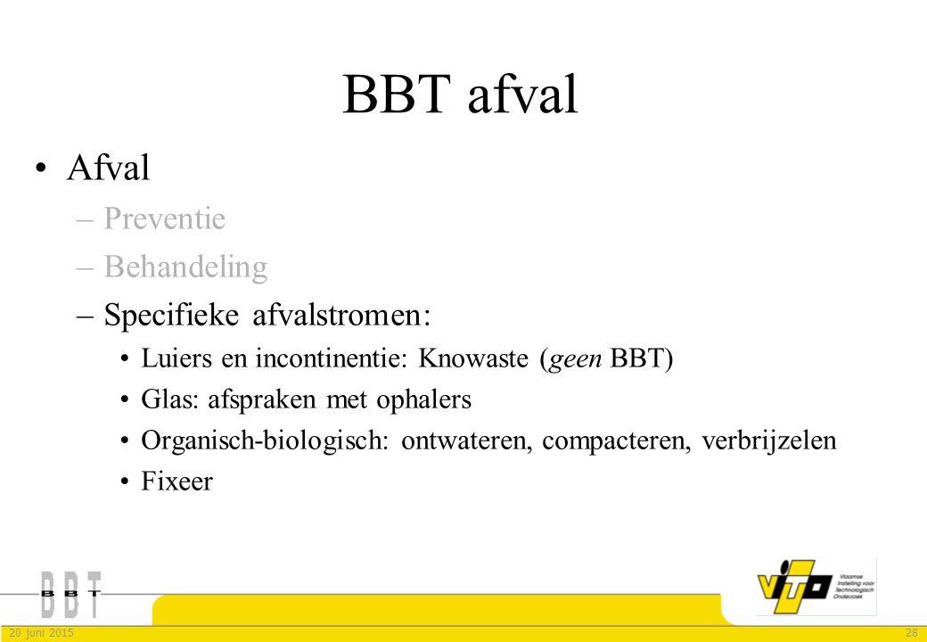 BBT afval Afval Preventie Behandeling Specifieke afvalstromen: