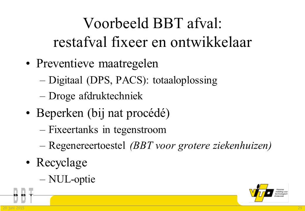 Voorbeeld BBT afval: restafval fixeer en ontwikkelaar