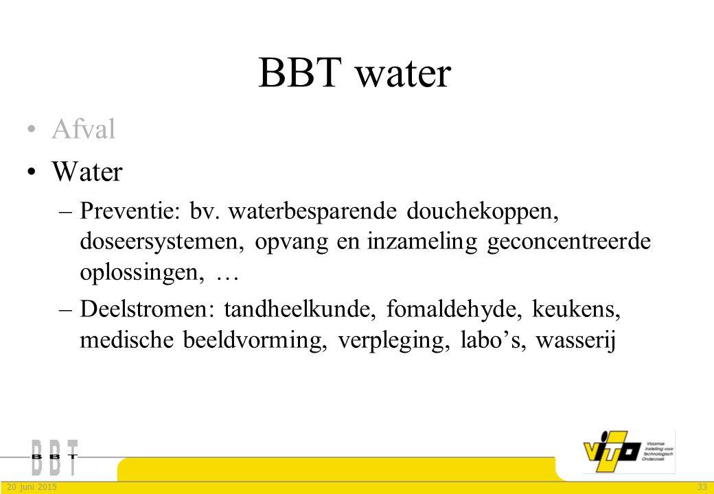 BBT water Afval. Water. Preventie: bv. waterbesparende douchekoppen, doseersystemen, opvang en inzameling geconcentreerde oplossingen, …