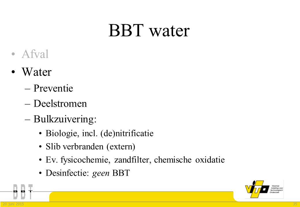BBT water Afval Water Preventie Deelstromen Bulkzuivering: