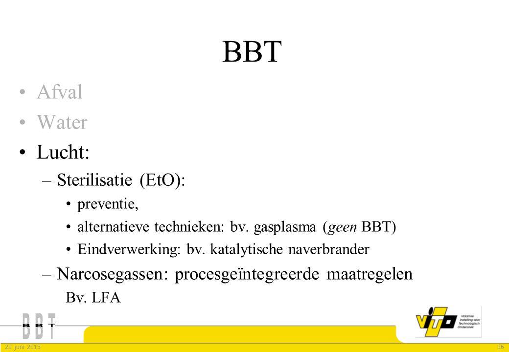 BBT Afval Water Lucht: Sterilisatie (EtO):