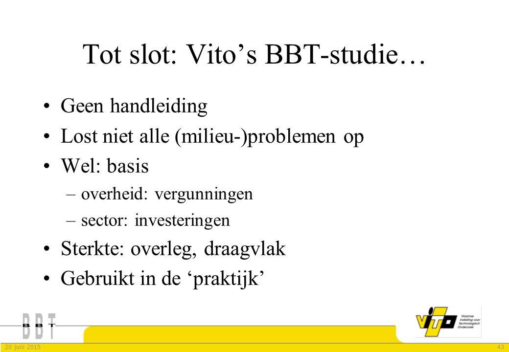 Tot slot: Vito's BBT-studie…