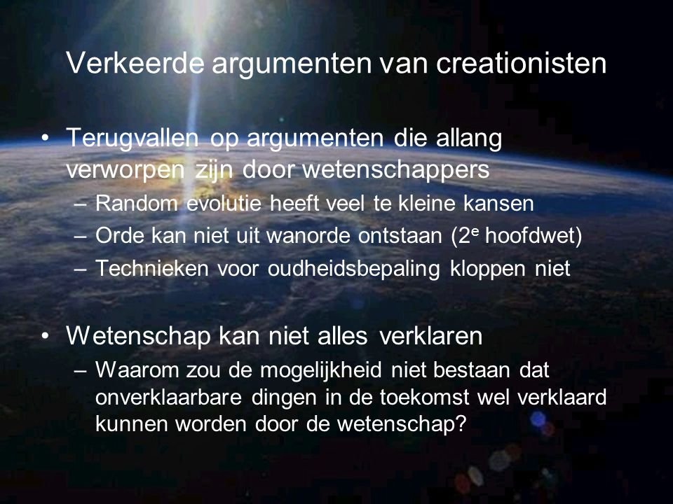 Verkeerde argumenten van creationisten