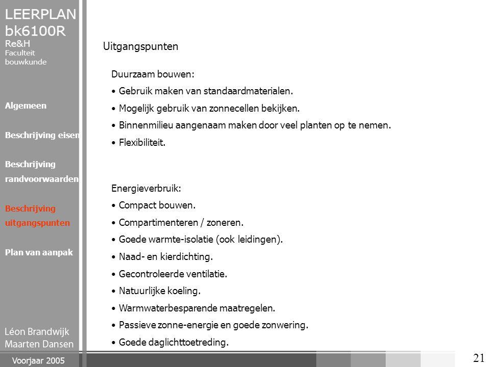 Uitgangspunten Duurzaam bouwen: Gebruik maken van standaardmaterialen.
