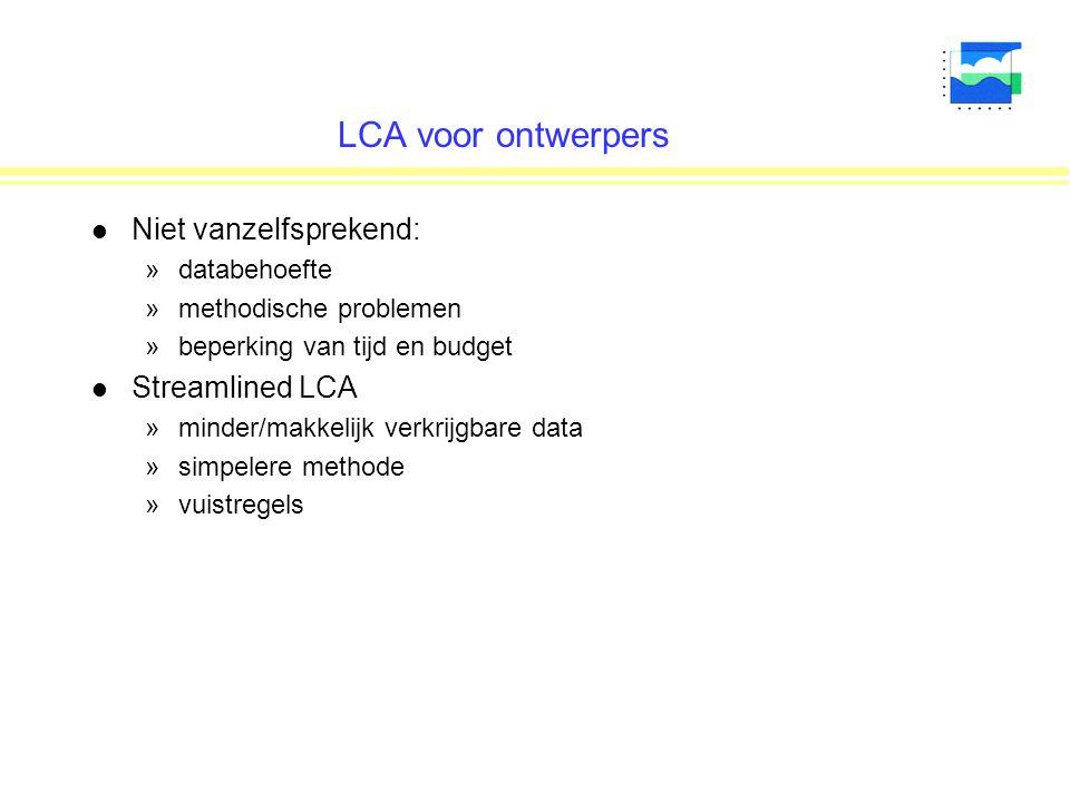 LCA voor ontwerpers Niet vanzelfsprekend: Streamlined LCA databehoefte