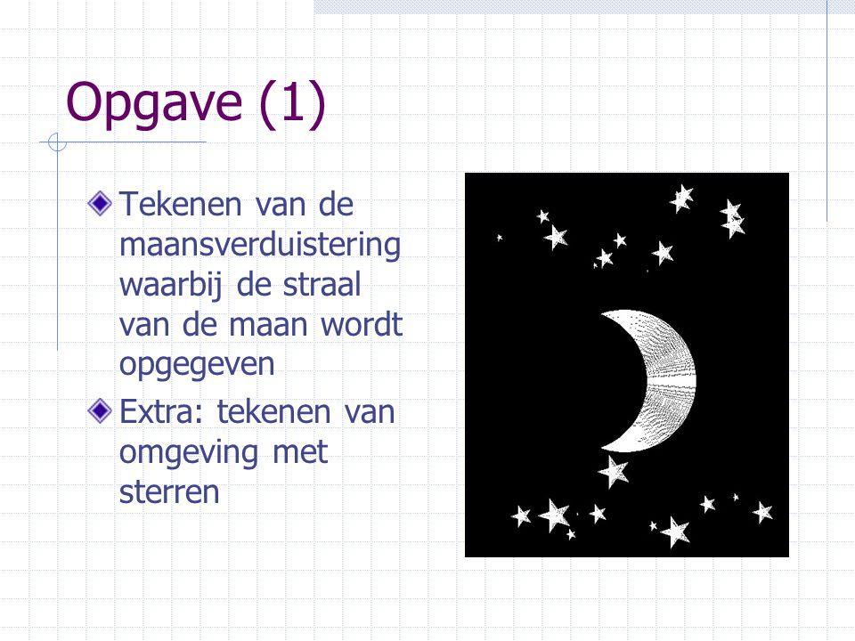 Opgave (1) Tekenen van de maansverduistering waarbij de straal van de maan wordt opgegeven.