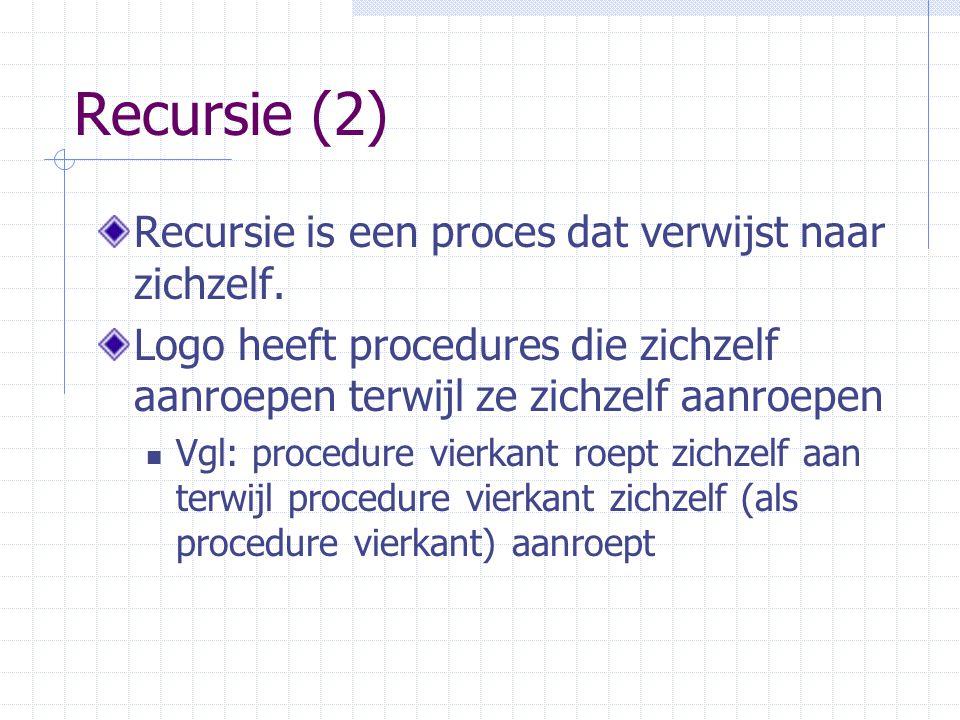 Recursie (2) Recursie is een proces dat verwijst naar zichzelf.