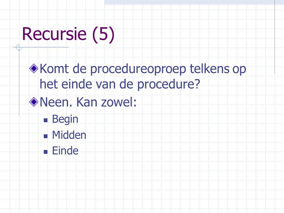 Recursie (5) Komt de procedureoproep telkens op het einde van de procedure Neen. Kan zowel: Begin.
