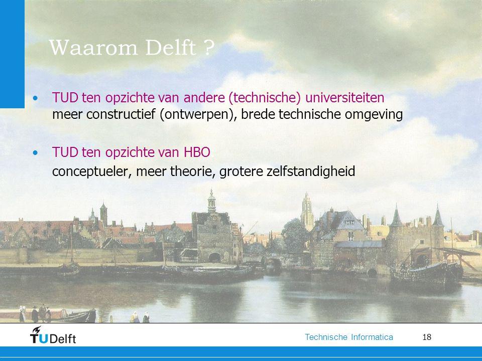 Waarom Delft TUD ten opzichte van andere (technische) universiteiten meer constructief (ontwerpen), brede technische omgeving.
