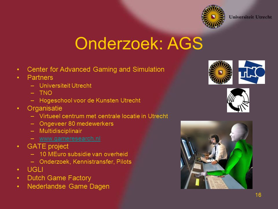 Onderzoek: AGS Center for Advanced Gaming and Simulation Partners