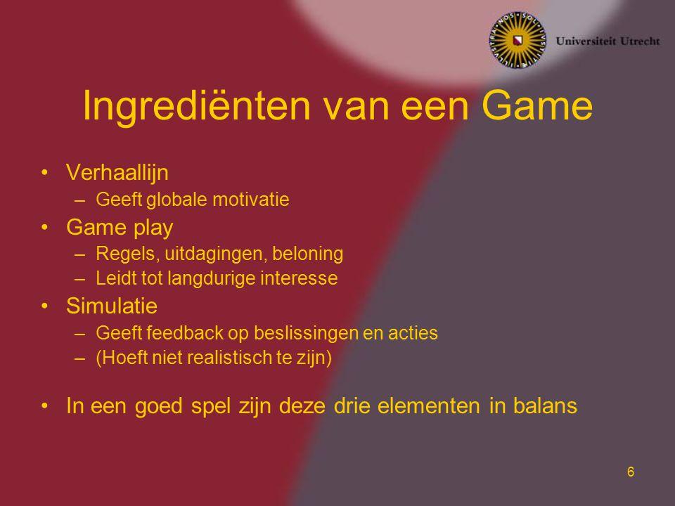 Ingrediënten van een Game