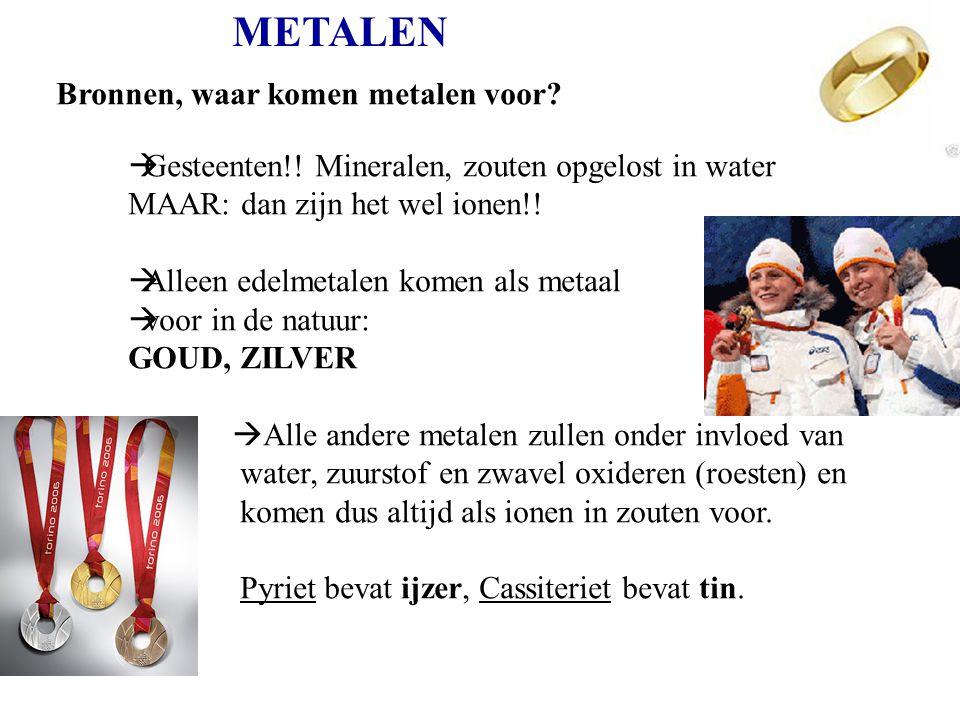 METALEN Bronnen, waar komen metalen voor