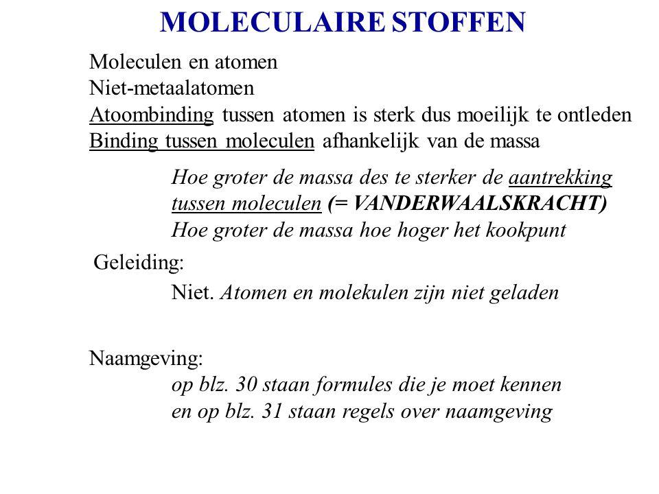 MOLECULAIRE STOFFEN Moleculen en atomen Niet-metaalatomen